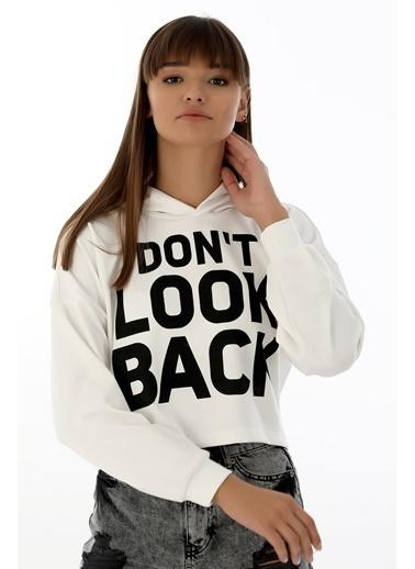 Emjey Don'T Look Back Baskılı Sweat Beyaz